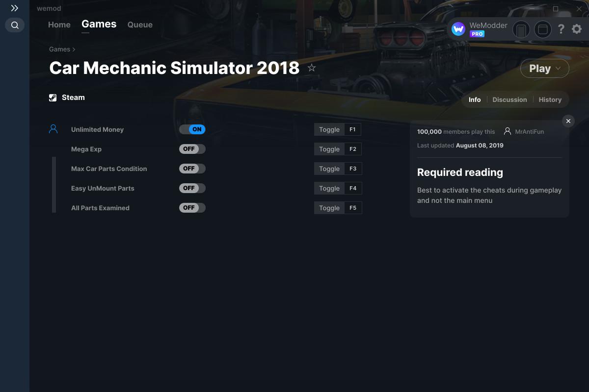 Car Mechanic Simulator 2018 Cheats and Trainers for PC - WeMod