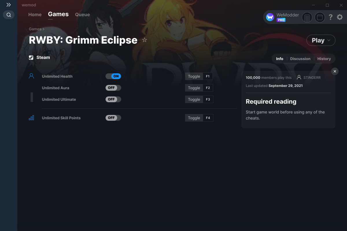 RWBY: Grimm Eclipse Cheats and Trainers for PC - WeMod