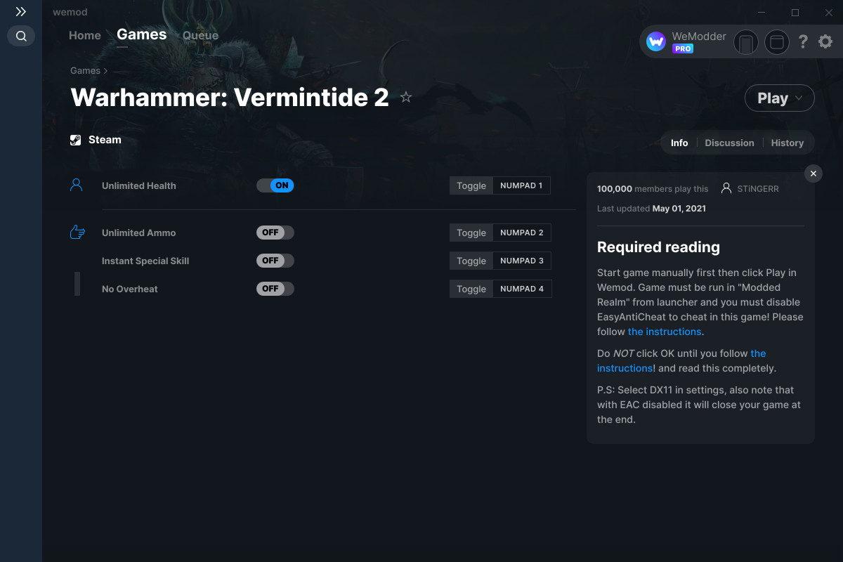 Warhammer: Vermintide 2 Cheats and Trainers for PC - WeMod
