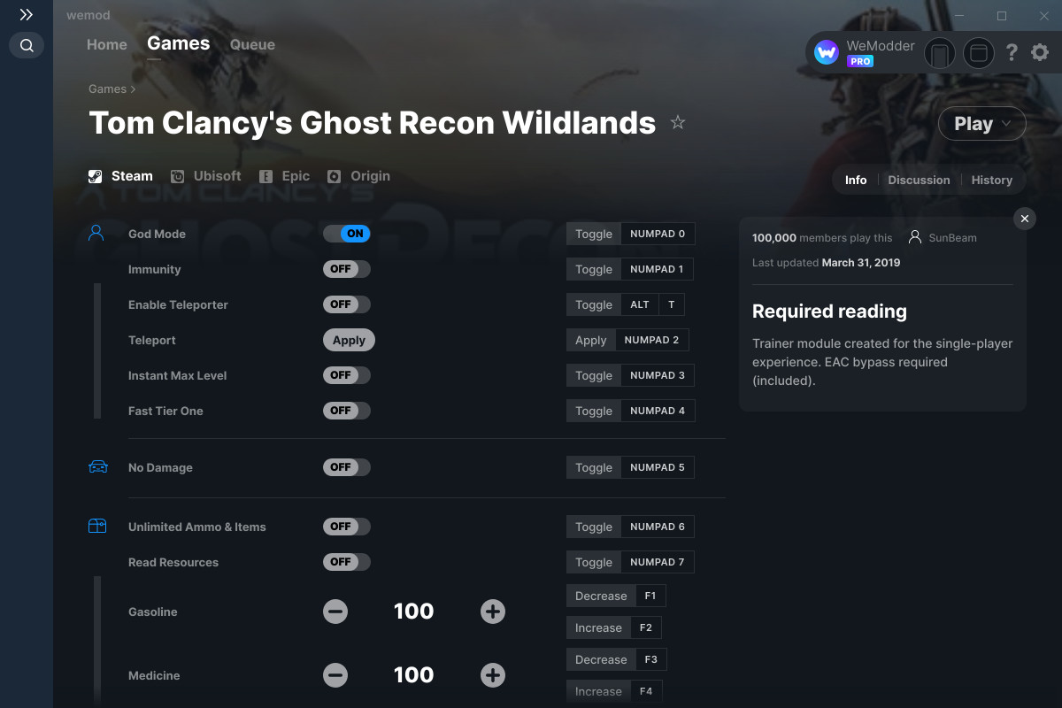 Tom Clancys Ghost Recon Wildlands Cheats And Trainers For Pc Wemod