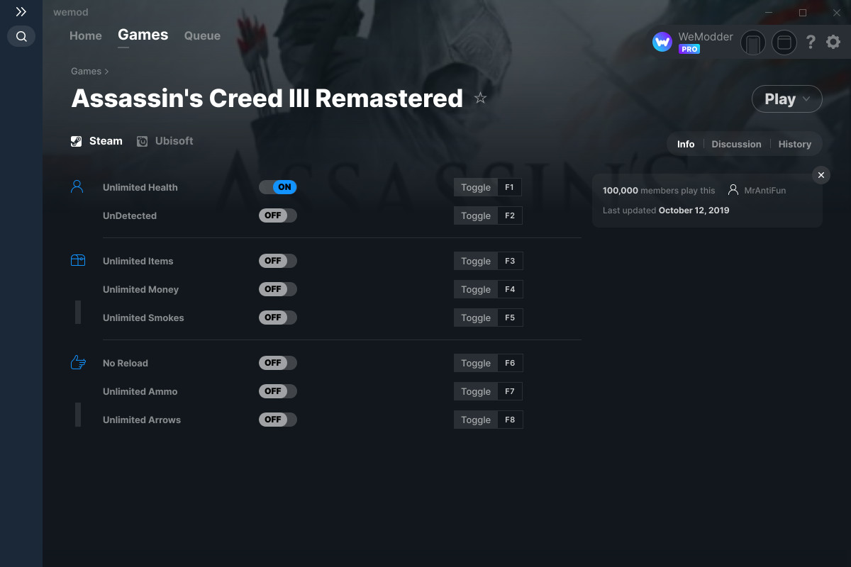Assassin S Creed Iii Remastered Cheats And Trainers For Pc Wemod